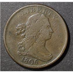 1806 HALF CENT, VF