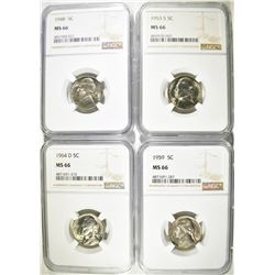 (4) ALL NGC MS 66 JEFERSON NICKELS: