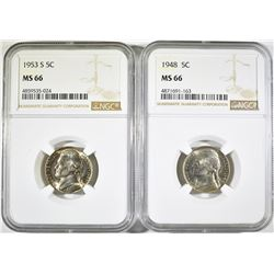 (2) ALL NGC MS 66 JEFFERSON NICKELS:
