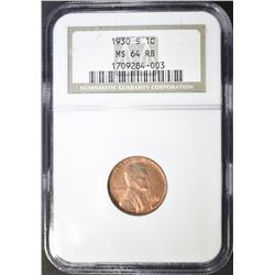 1930-S LINCOLN CENT NGC MS 64 RB