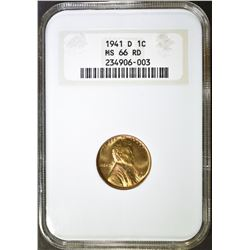 1941-D LINCOLN CENT NGC MS 66 RD