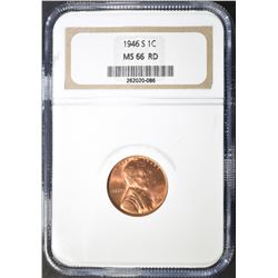 1946-S LINCOLN CENT NGC MS 66 RD