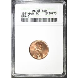 1951-D/D LINCOLN CENT ANACS MS 65 RD