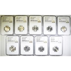 9-DIFFERENT JEFFERSON NICKELS NGC GRADED