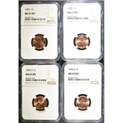 1984-P & D & 1985-P &D LINCOLN CENTS NGC MS-67 RED
