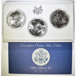 1983 OLYMPIC P-D-S COMMEM SILVER DOLLAR SET