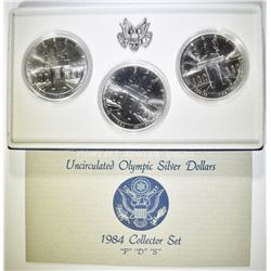 1984 OLYMPIC P-D-S COMMEM SILVER DOLLAR SET