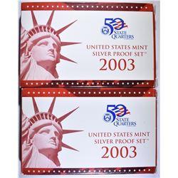 2-2003 U.S. SILVER PROOF SETS IN ORIG PACKAGING