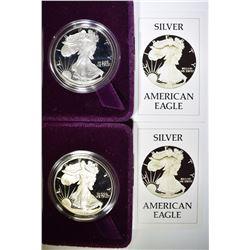 2-1986 PROOF AMERICAN SILVER EAGLES ORIG BOX/COA
