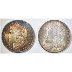 1896 & 1881-O CH BU MORGAN DOLLARS WITH COLOR