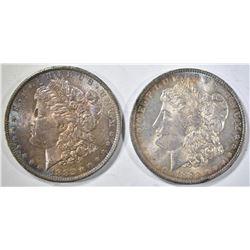 1882-O & 1883-O CH BU MORGAN DOLLARS WITH COLOR