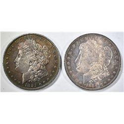 1884-O & 1881-O CH BU MORGAN DOLLARS WITH COLOR