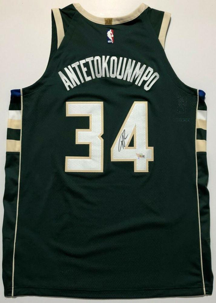 hot sale online cbb95 a57e6 Giannis Antetokounmpo Signed Milwaukee Bucks Authentic ...
