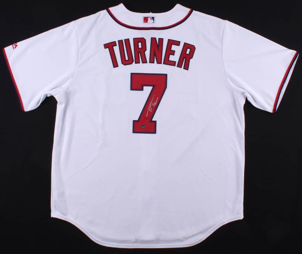 half off 89e7c 7a875 Trea Turner Signed Nationals Jersey (Schwartz COA)