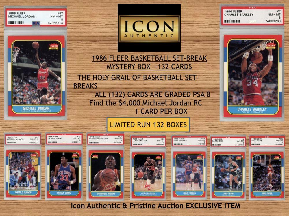 Icon Authentic 1986 Fleer Basketball Set Break Mystery Box All Psa