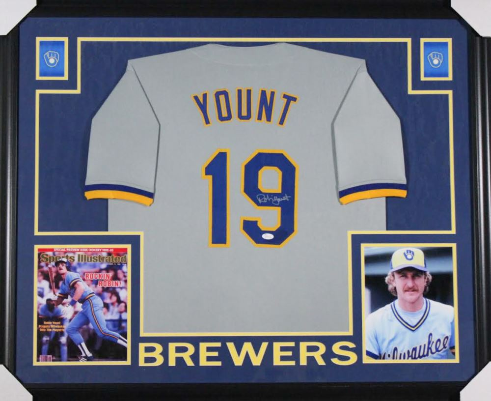 best loved 91ae5 fc5a1 Robin Yount Signed Milwaukee Brewers 35x43 Custom ...
