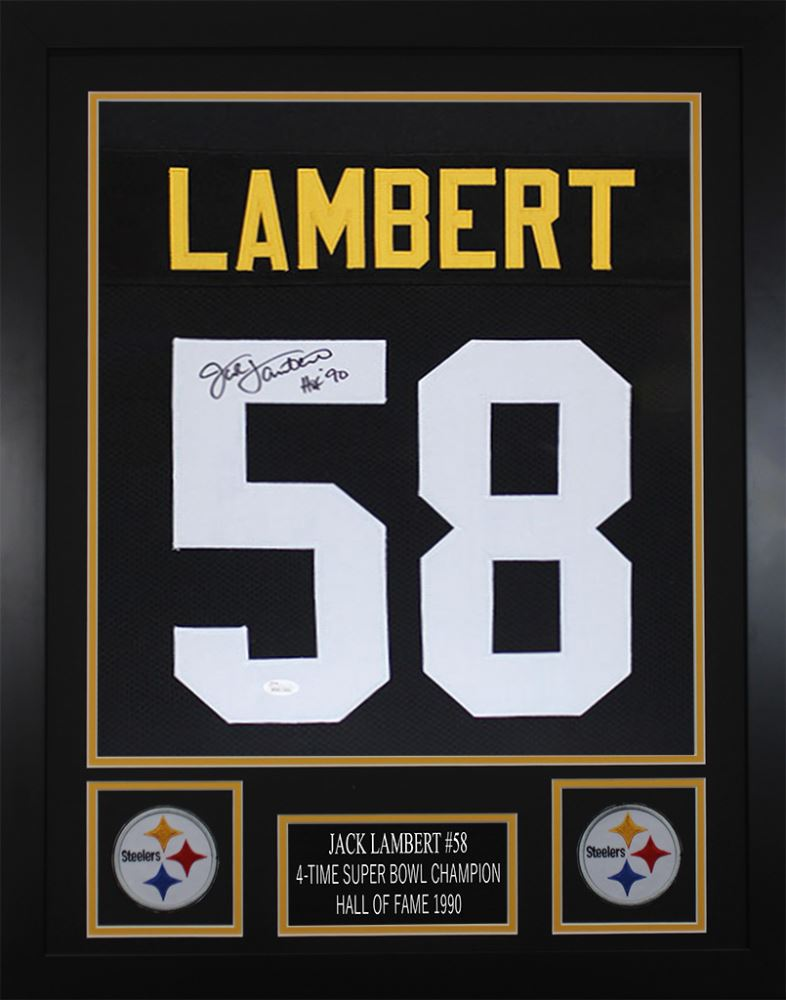 best loved 4b978 414bb Jack Lambert Signed Pittsburgh Steelers 24x30 Custom ...