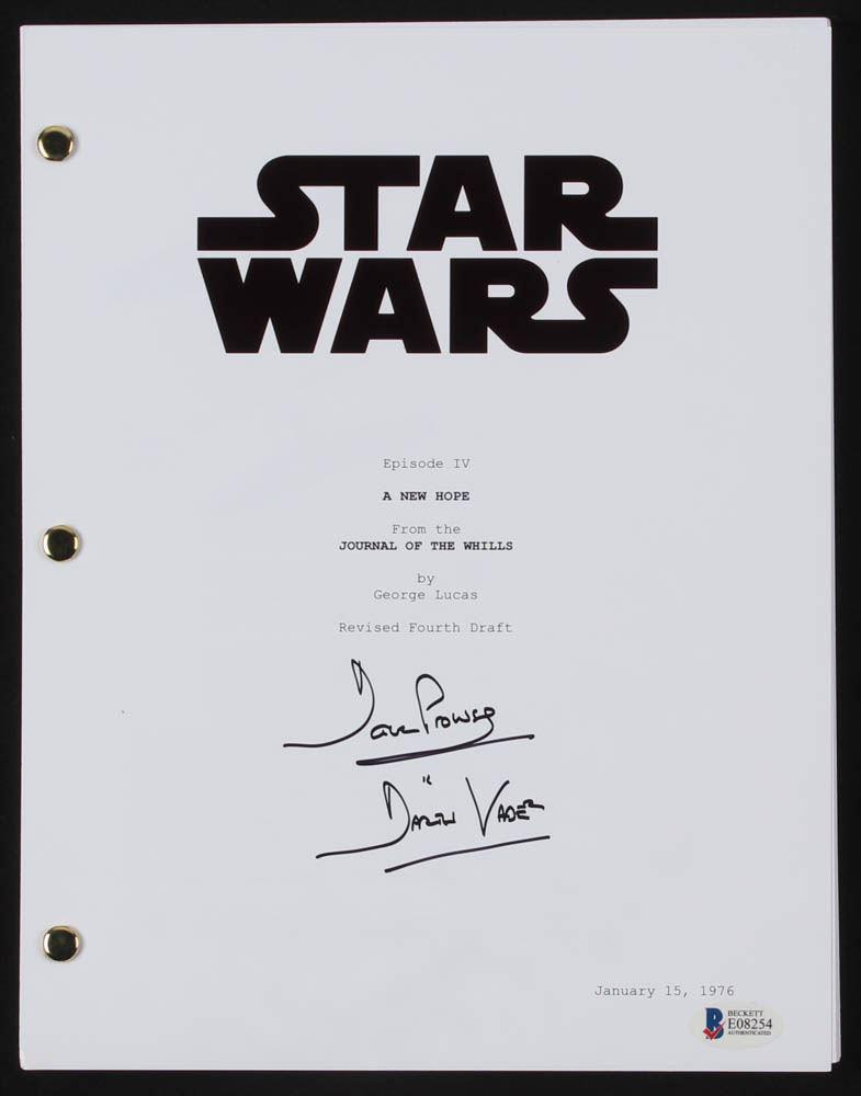 David Prowse Signed Star Wars Episode Iv A New Hope Full Movie Script Inscribed Darth Vader