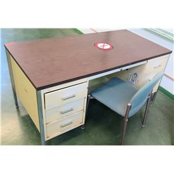 Metal Desk w/ 5 Drawers, Wood Laminate Top & Chair (RM-205)