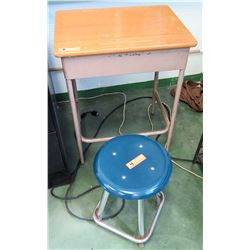 Metal Desk w/ Wood Top & Blue Stool (RM-205)