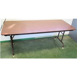 Long Metal Folding Table w/ Wood Laminate Top (RM-205)