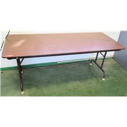 Long Metal Folding Table w/ Wood Laminate Top (RM-205)