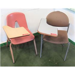 Qty 2 Desks with Attached Chairs (RM-205)