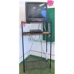 Panasonic TV w/ VHS Player and Metal Rack (RM-205)