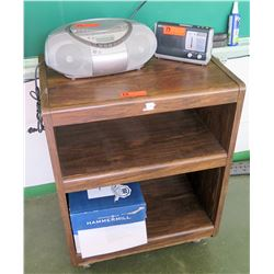 Wooden Shelf w/ CD Boombox, Weather Radio (RM-206)