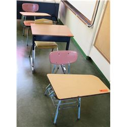 Qty 3 Desks with Attached Chairs (RM-206)