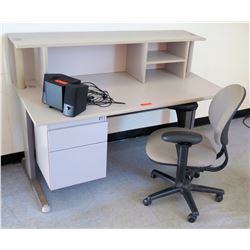 White Desk w/ 2 Drawers, Hutch & Rolling Arm Chair (RM-302)