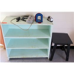 Wooden Bookcase w/ Contents, Black Stool (RM-302)