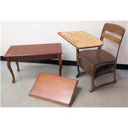 Wooden Chair and Desk, Side Table, and Paper Holder (RM-301)