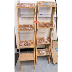 Qty 2 Narrow Wooden 4-Tier Shelving Units (RM-301)