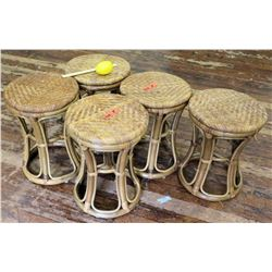 Qty 5 Wooden Woven Stools (RM-Theater)
