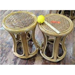 Qty 2 Wooden Woven Stools (RM-Theater)