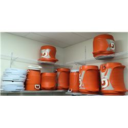 Qty 8 Large Orange Gatorade Coolers Dispensers w/ Lids