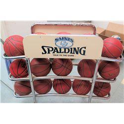 Qty 15 Spaulding NFHSU Basketballs in Metal Rack (RM-Gym)