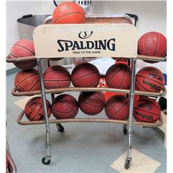 Qty 16 Spaulding & Baden Elite Basketballs in Metal Rack (RM-Gym)
