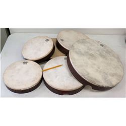 Qty 6 Misc. Sized Remo Hand Drums (RM-Music)