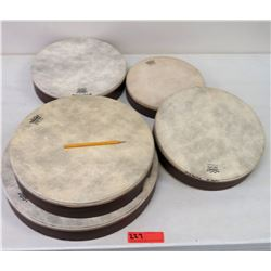 Qty 5 Misc. Sized Remo Hand Drums (RM-Music)