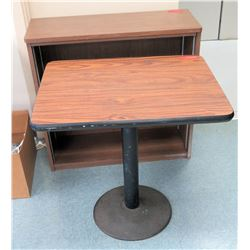 "Wooden Table and Wooden Shelving Unit (RM-Music) Table: 30""L x 24""W x 29.5""H, Shelf: 35.5""L x 13.75"""