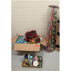 Misc. Lot of Christmas Decorations, Wrapping Paper, Ribbons (RM-Music)