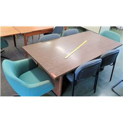 Wooden Table w/ 6 Upholstered Chairs (RM-101)