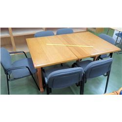 Wooden Table w/ 6 Blue Chairs (RM-101)