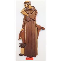 St. Francis of Assisi Carved Wall Art, Multiple Wooden Pieces (RM-101)
