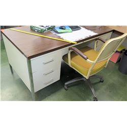 Desk & Yellow Rolling Chair (RM-101)