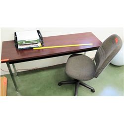 Long Wooden Table w/ Rolling Office Chair (RM-101)
