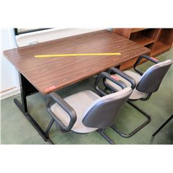 Wooden Desk w/ 2 Reception Chairs (RM-101)