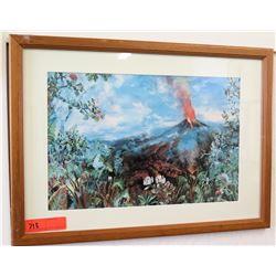 "Framed Print: Erupting Volcano 24""x 18"" (RM-101)"